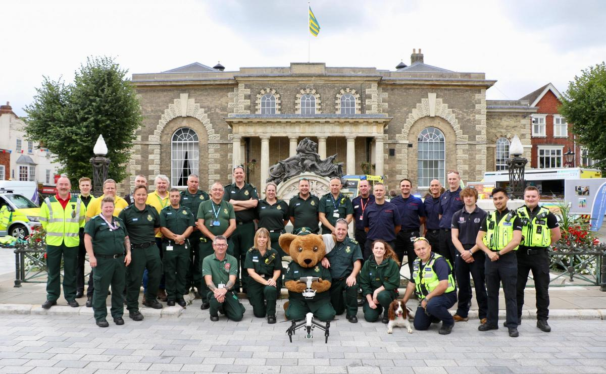 Members of the South Western Ambulance Service NHS Foundation Trust (SWASFT), Wiltshire Police, Dorset and Wiltshire Fire and Rescue Service and emergency services volunteers at an Emergency Services Day event in Salisbury's Guildhall Square. Photo: Salisbury Journal.