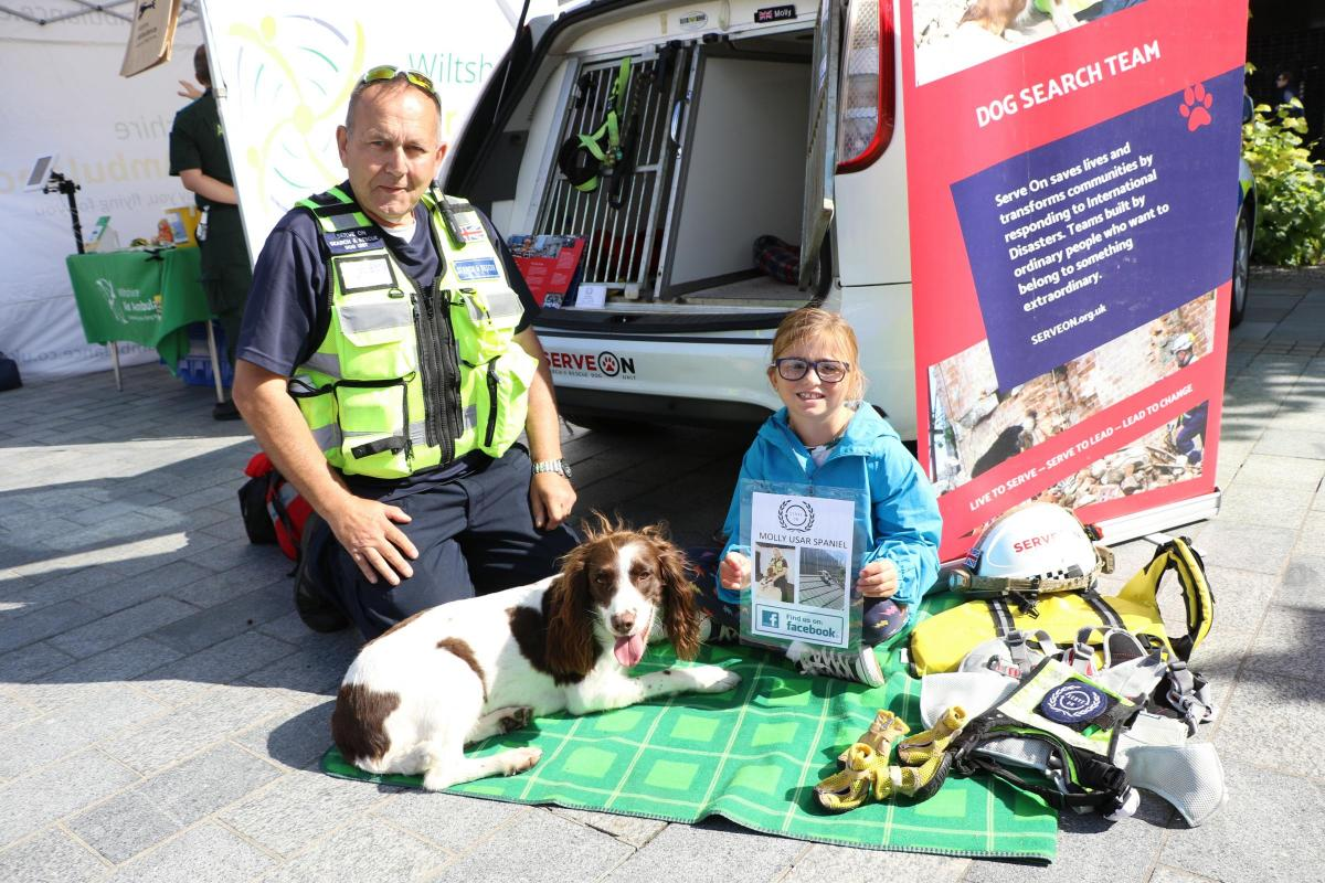 Serve On volunteers, including handler James and search dog Molly from our Dog Team, joined members of the South Western Ambulance Service NHS Foundation Trust (SWASFT), Wiltshire Police, Dorset and Wiltshire Fire and Rescue Service and other emergency services volunteers at an Emergency Services Day event in Salisbury's Guildhall Square. Photo: Salisbury Journal