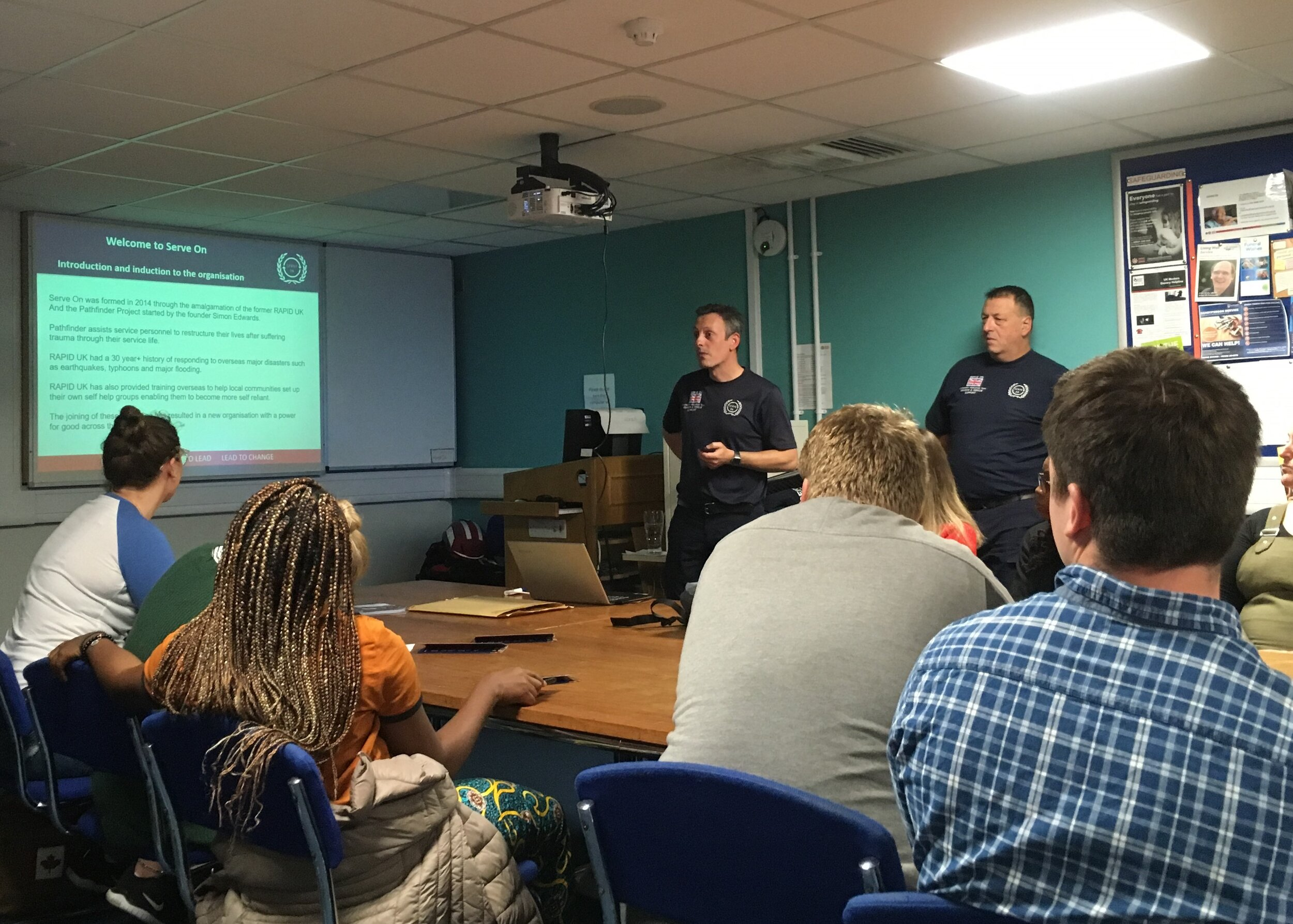 Portsmouth Community Resilience Team leader Paul and instructor Kev explain to would-be recruits how they will be able to help their community, in support of the emergency services, as part of the Serve On family.