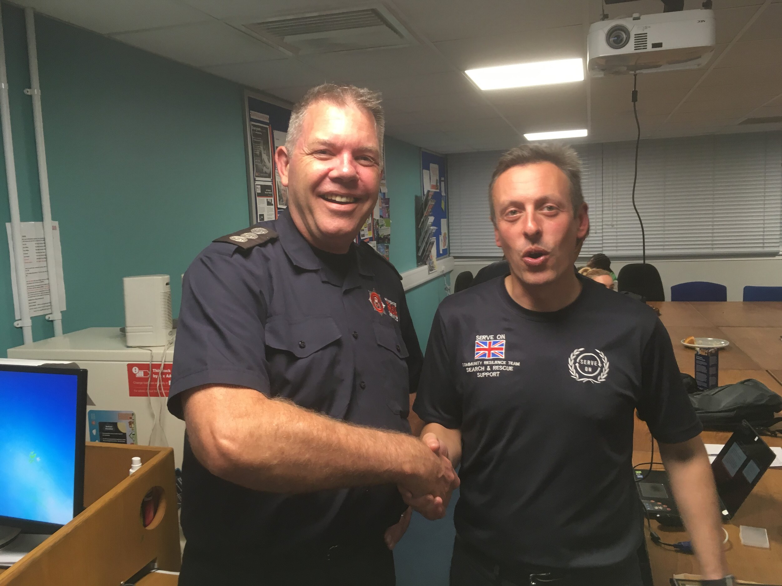 Southsea Station Commander Steve Buchanan-Lee offers his congratulations to team leader Paul on the official launch of the new Portsmouth Community Resilience Team, serving Portsmouth and the surrounding area.