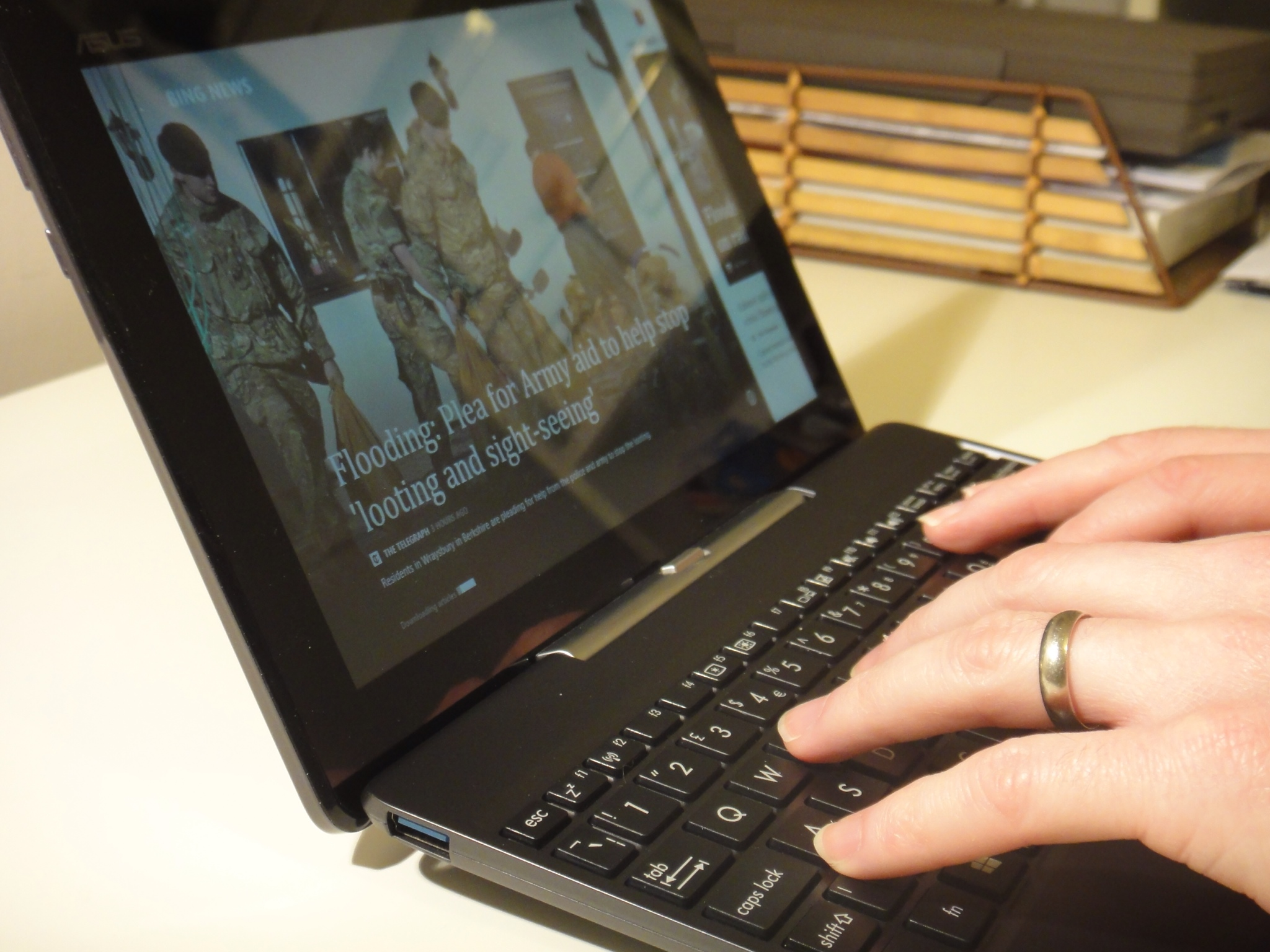 The keyboard is small, but well made and responsive. The hinge feels strong and reliable.