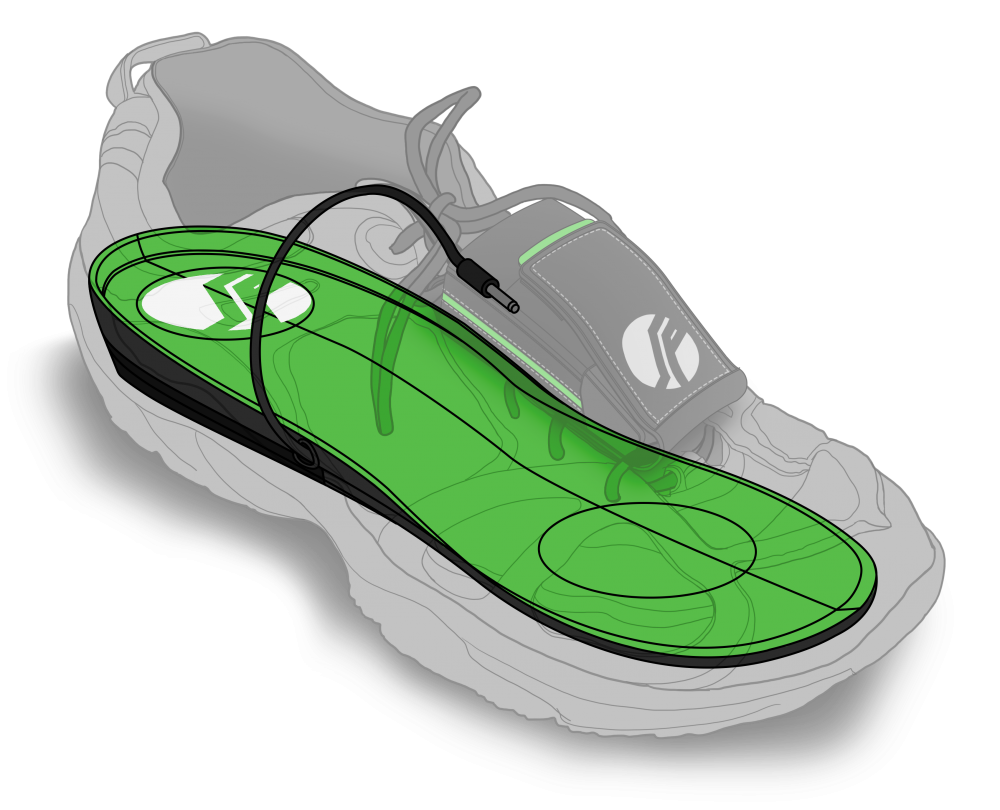 The soles are designed to fit comfortably into any shoe. The battery is designed to be safe from the elements.