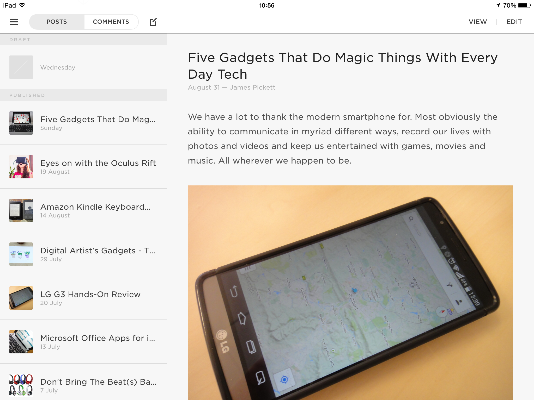 Squarespace Blog on iPad looks nice, but only supports basic functionality