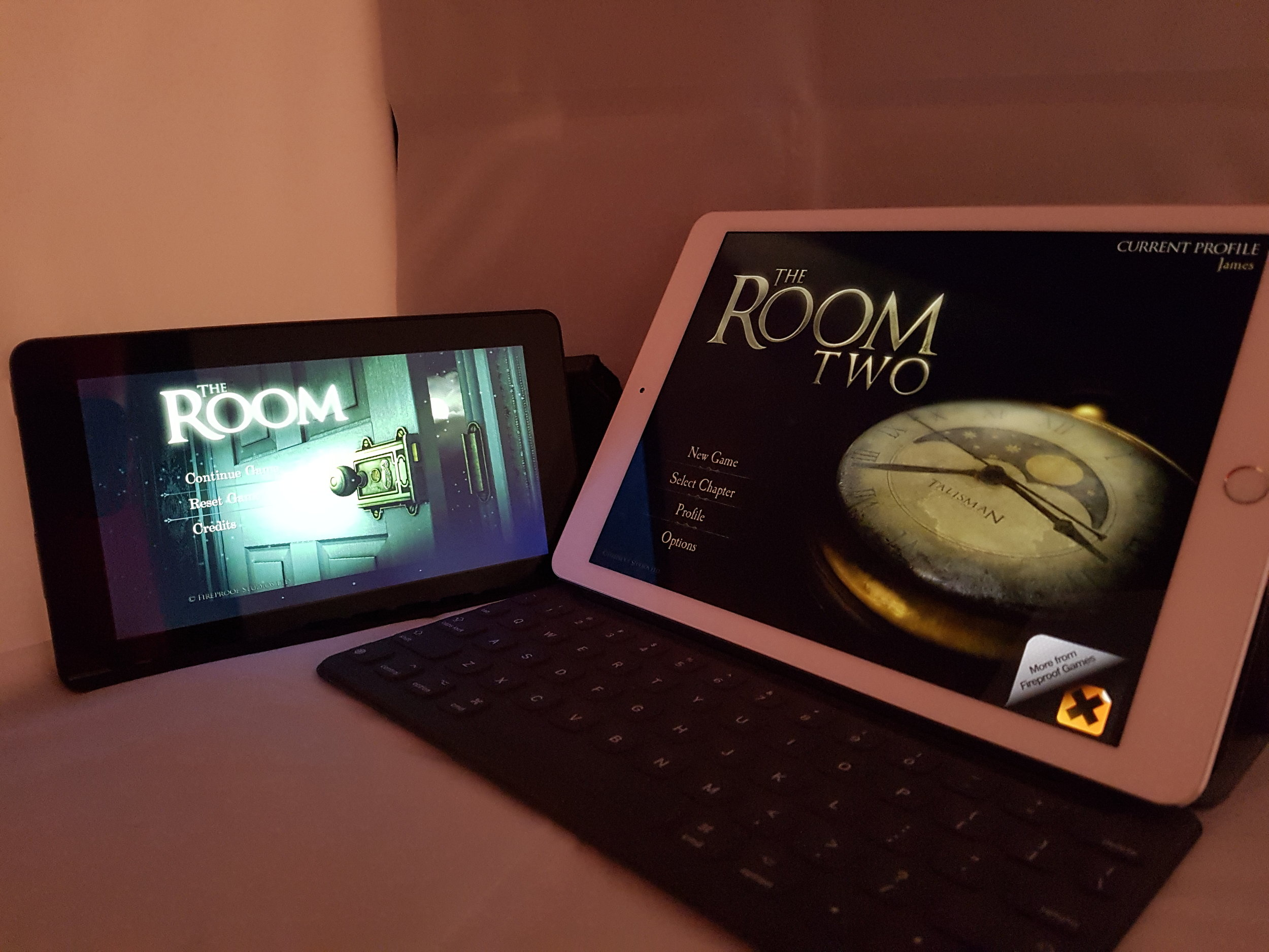 You can play 'The Room' on both, but it's far far far far more expensive to get hold of the one on the right. Worth it?