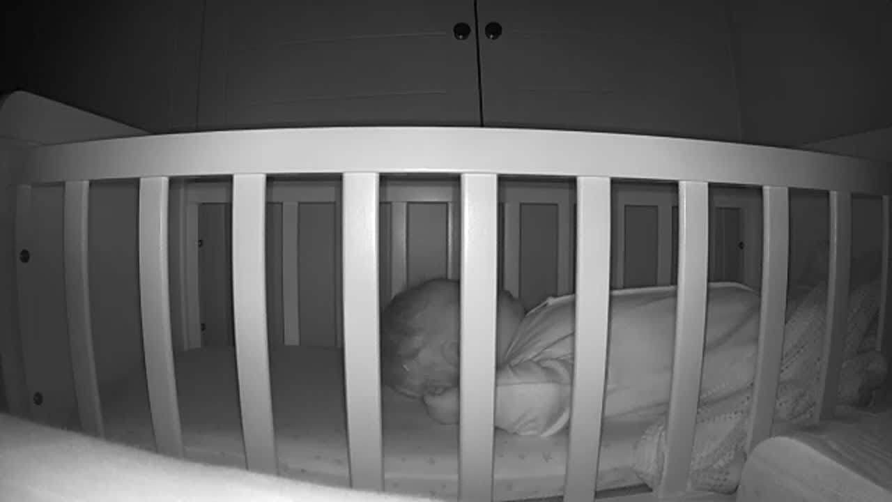 Live stream of Baby P settling down in his crib - you can take a photo via the app or record video at any time