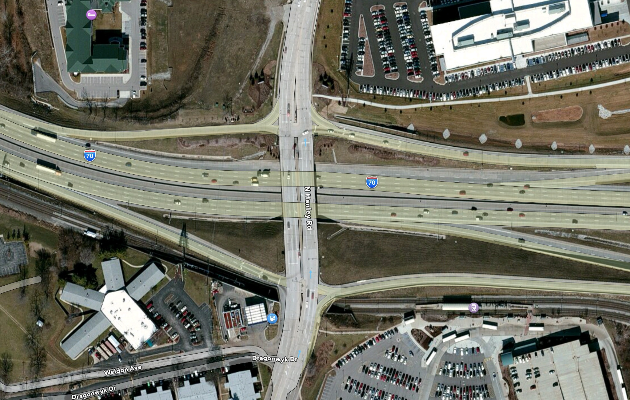 The intersection of I-70 and N. Hanley Rd.