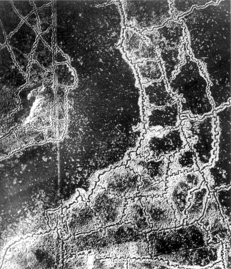 An aerial view of the WWI Loos-Hulluch trench system in France. British trenches are situated on the left of the photo, and German trenches on the right - in the middle of the two is no man's land. July 22, 1917