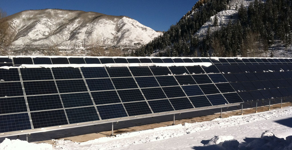 In 2009 and 2011, the city installed photovoltaic capacity at the water treatment plant.  Photo credit: City of Aspen
