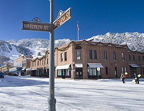 Downtown Aspen, CO, with view to ski slopes.  Photo credit: City of Aspen