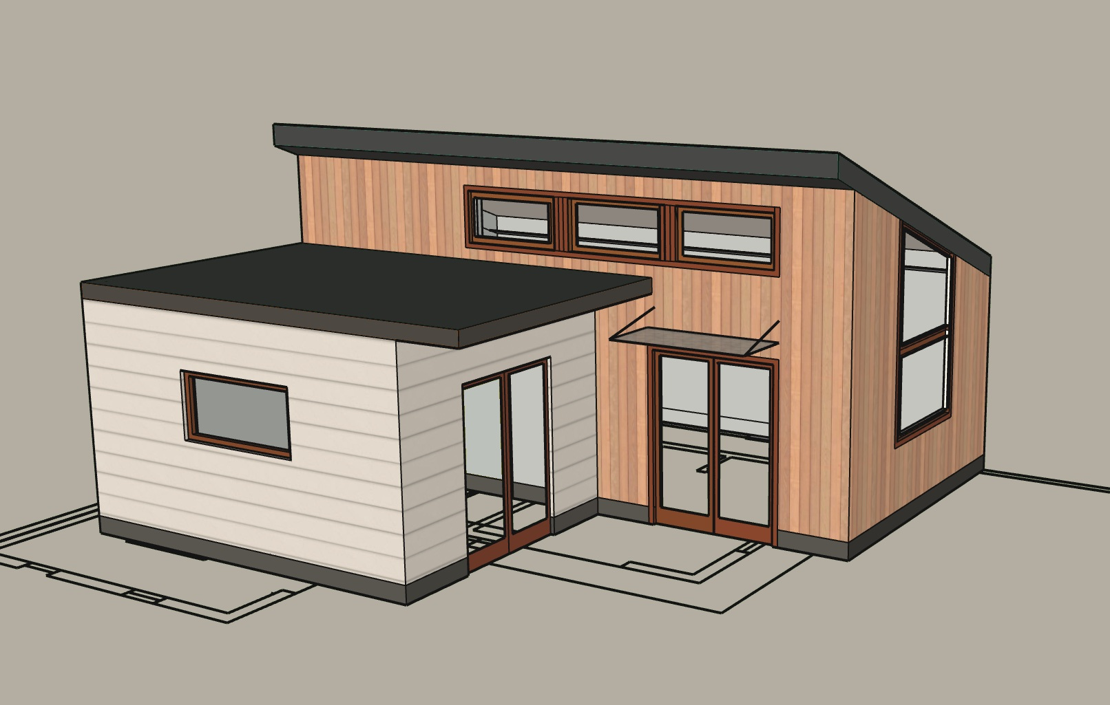 485 sq.ft. design study for Albany. Detached unit to be used as rental income.  Design and Architecture: Kasia Kowalska & Ingrid Ballmann. Construction: Black Wolf Construction.