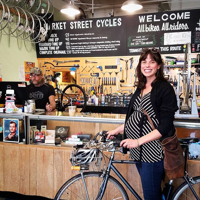 Market Street Cycles doesn't want to hear about all the reasons why you can't ride. Rider of the Month is Andie Nelson, pushing 8 months and pushing pedals. Get some!!!