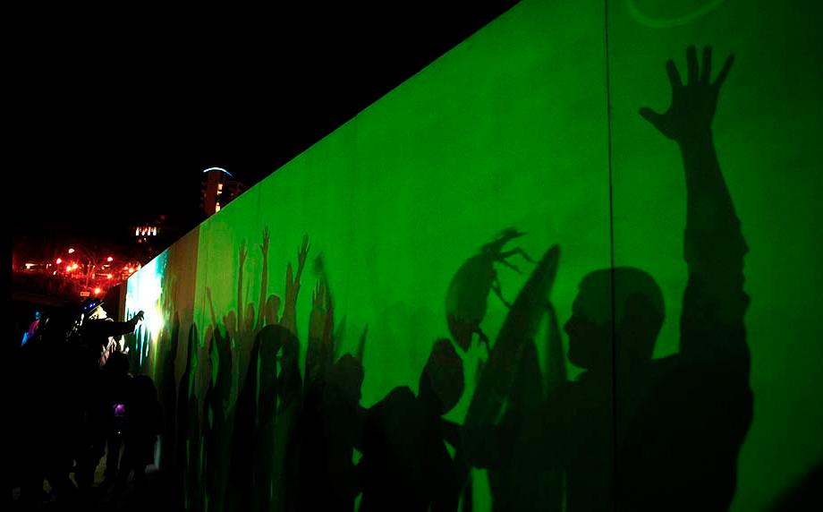 GLOWbal, Image Still, Audience Participation, Karen Atkinson, 2013.