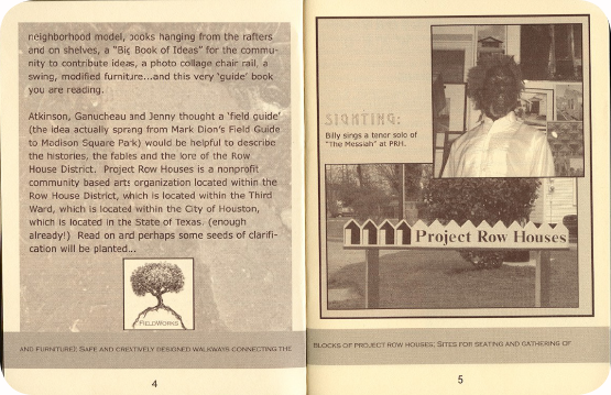 FieldWorks Field Guide, 2004, Project Row Houses, Karen Atkinson, Nancy Ganecheau, Jane Jenny. Page 5-6.