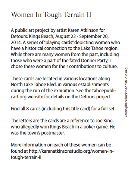 Back of Cover Card Deck Women In Tough Terrain, Karen  Atkinson, 2013 for Detours: Kings Beach