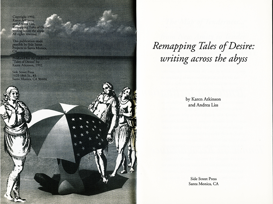 Remapping Tales of Desire: writing across the abyss, 1992. Pages 2 and 3.