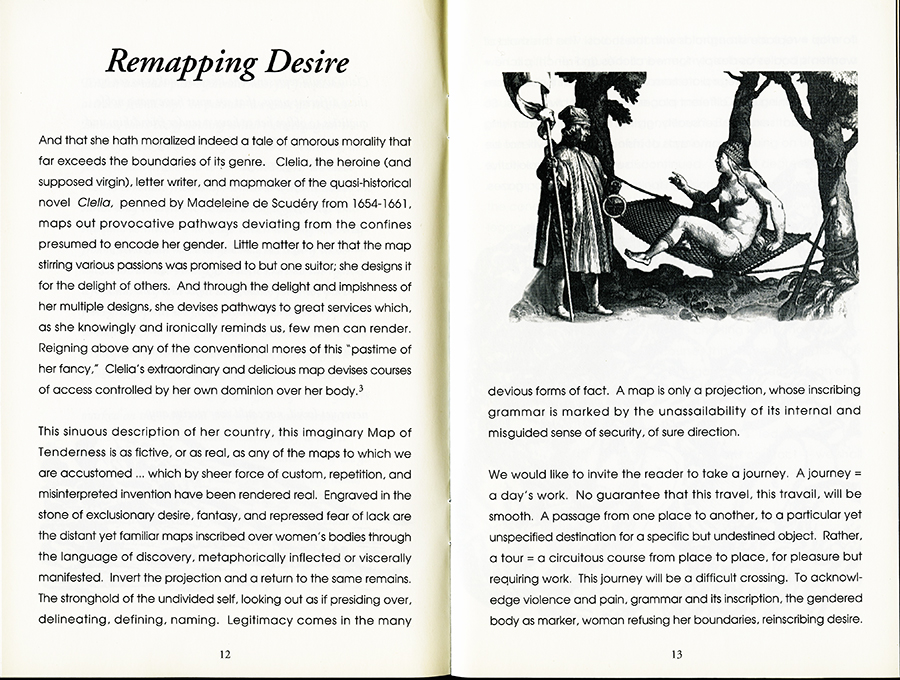 Remapping Tales of Desire: writing across the abyss, 1992. Pages 12 and 13.