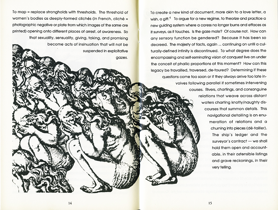 Remapping Tales of Desire: writing across the abyss, 1992. Pages 14 and 15.
