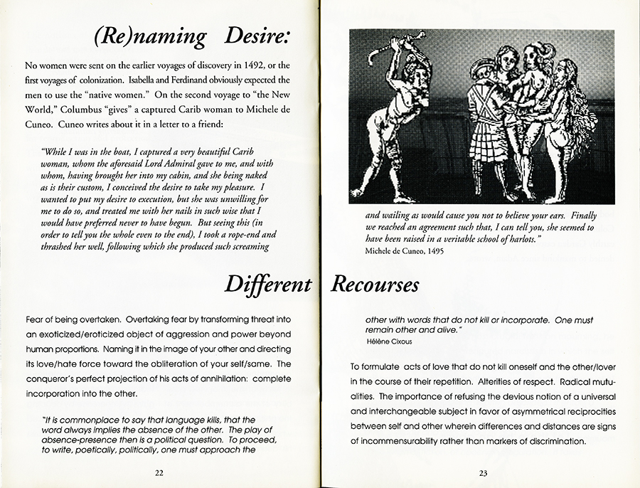 Remapping Tales of Desire: writing across the abyss, 1992. Pages 22 and 23.