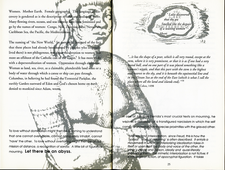 Remapping Tales of Desire: writing across the abyss, 1992. Pages 24 and 25.