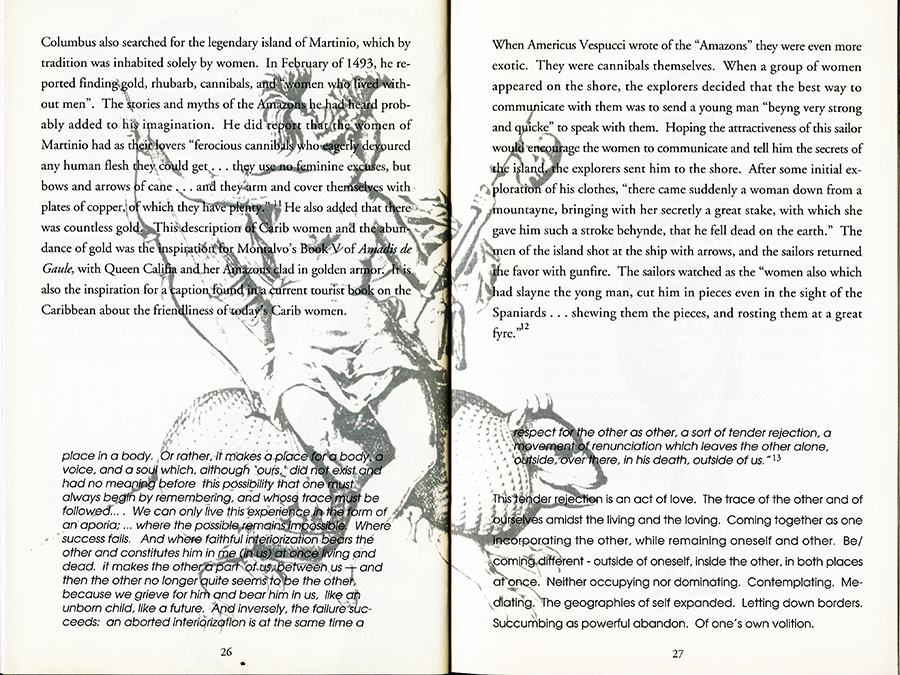 Remapping Tales of Desire: writing across the abyss, 1992. Pages 26 and 27.