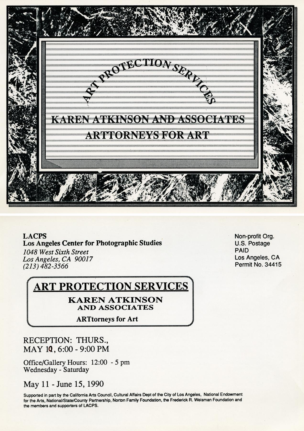 ART PROTECTION SERVICES: Karen Atkinson and Associates, ARTtorneys At Work. Exhibition Invite.