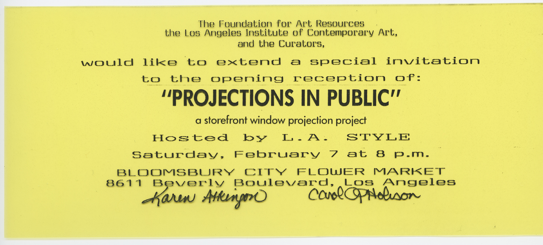 Projections in Public: Los Angeles Invite to Opening Reception (clear acetate)