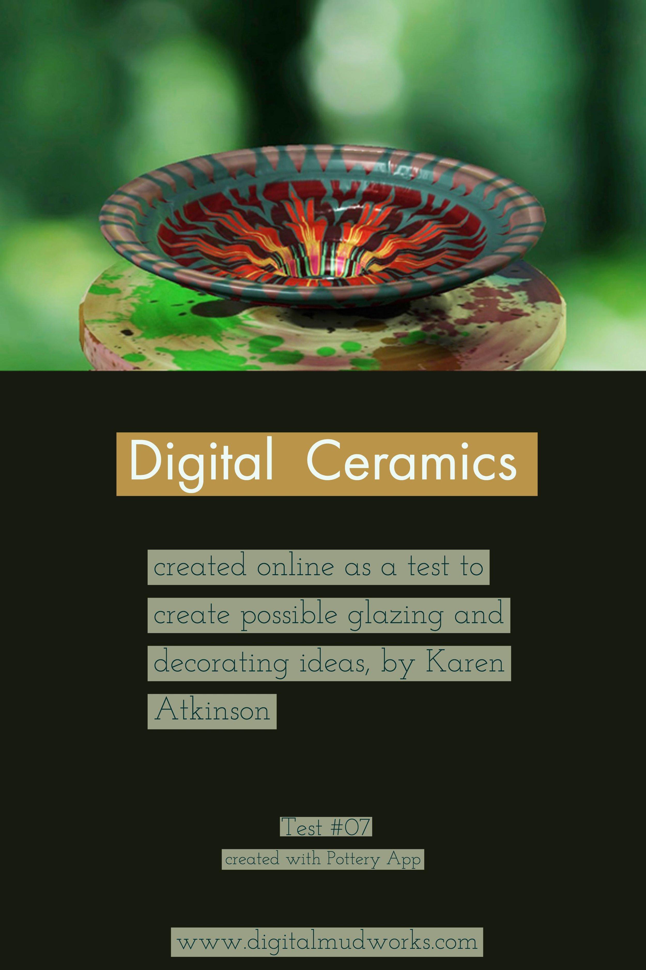 Digital Ceramics Test 07, using a computer app to do glaze and design tests. by Karen Atkinson