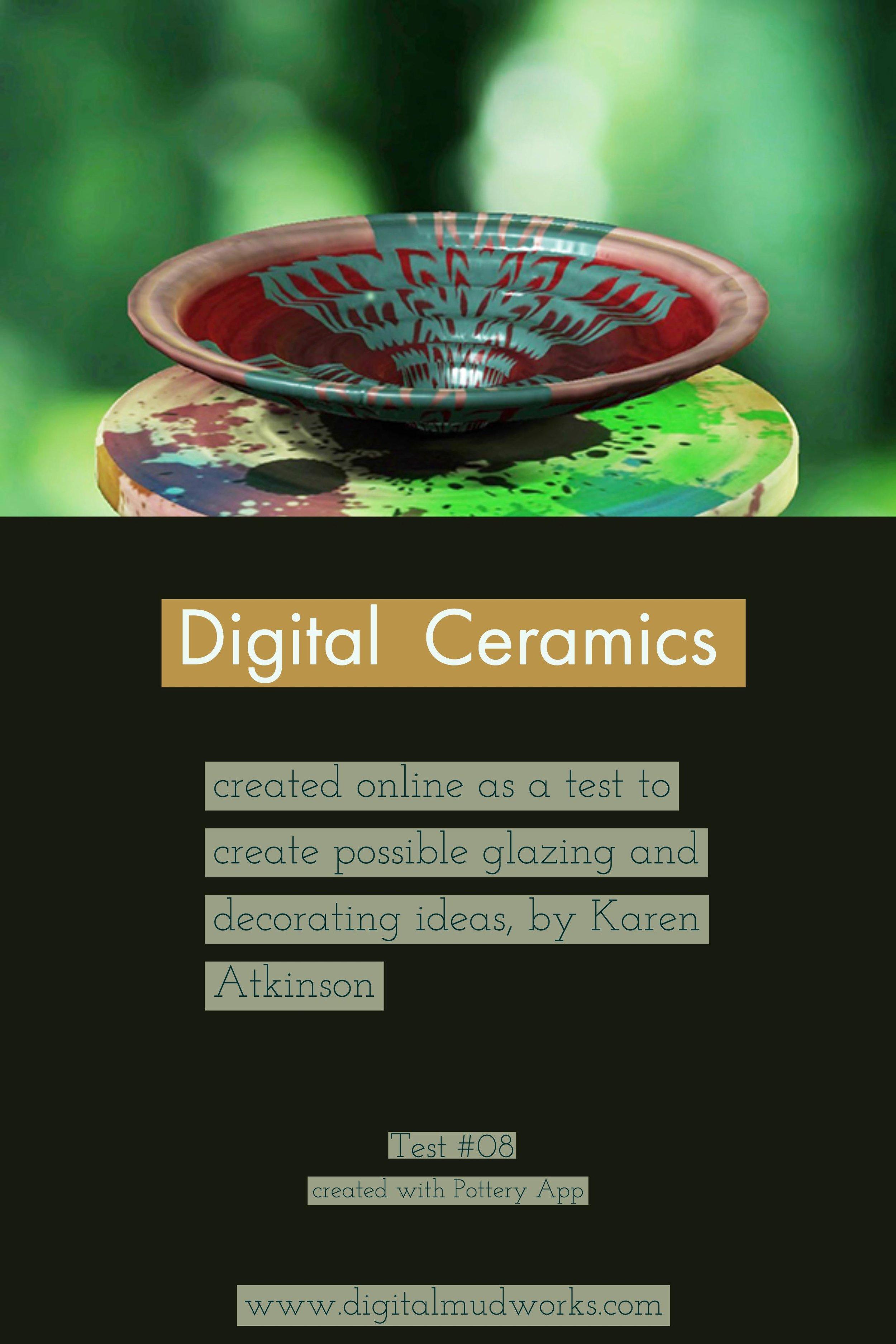 Digital Ceramics Test 08, using a computer app to do glaze and design tests. by Karen Atkinson