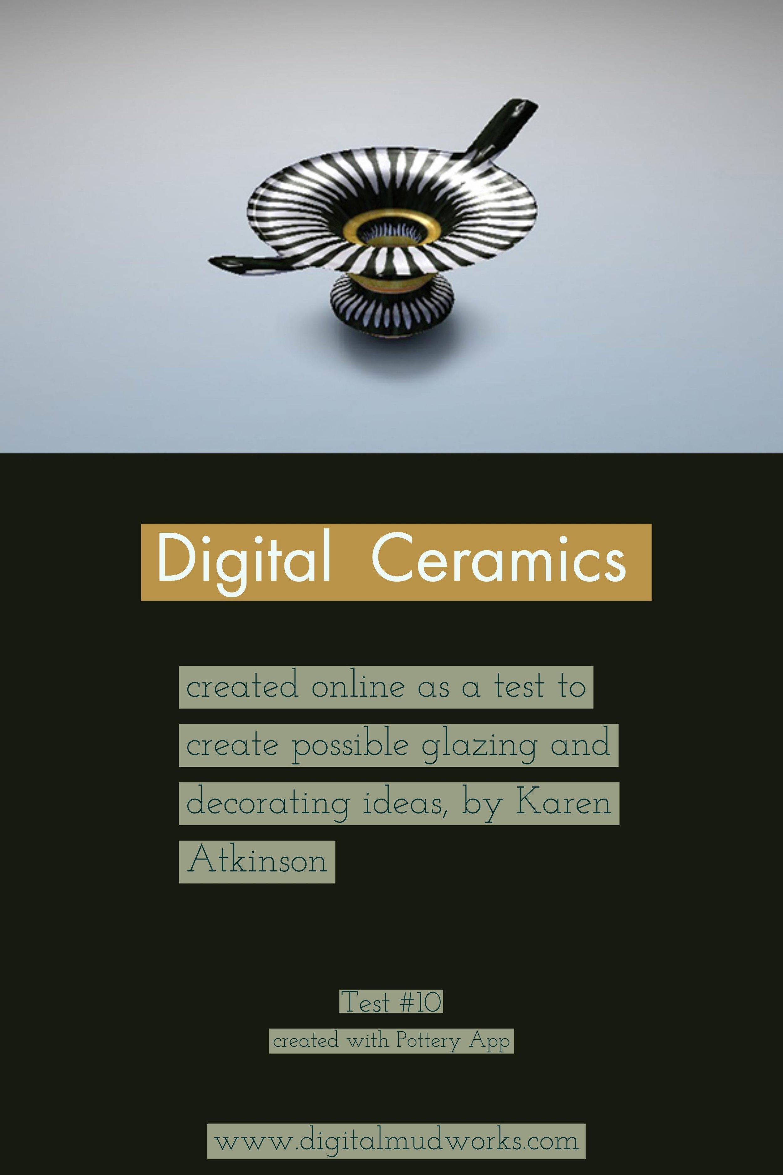 Digital Ceramics Test 010, using a computer app to do glaze and design tests. by Karen Atkinson