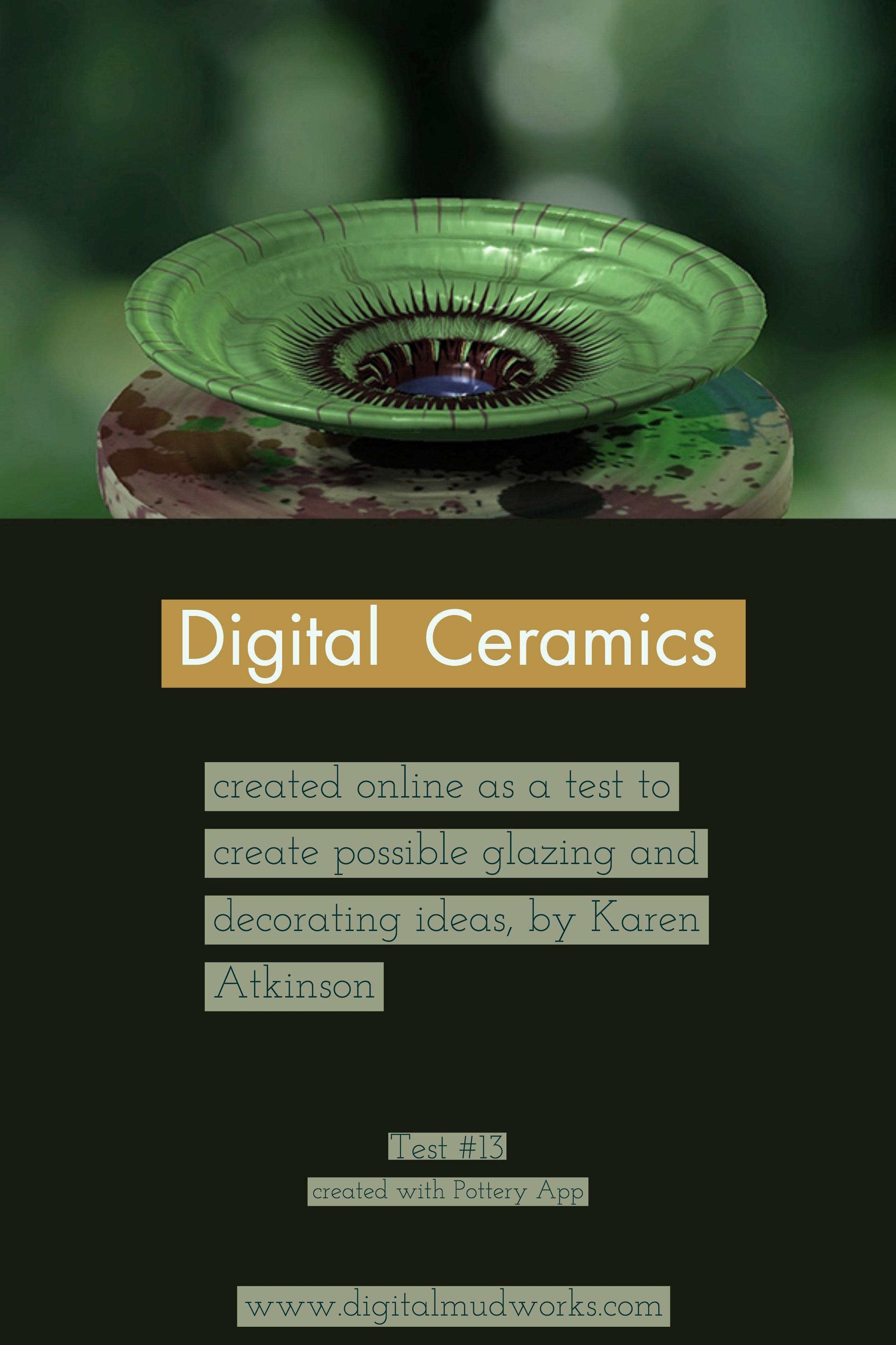 Digital Ceramics Test 013, using a computer app to do glaze and design tests. by Karen Atkinson