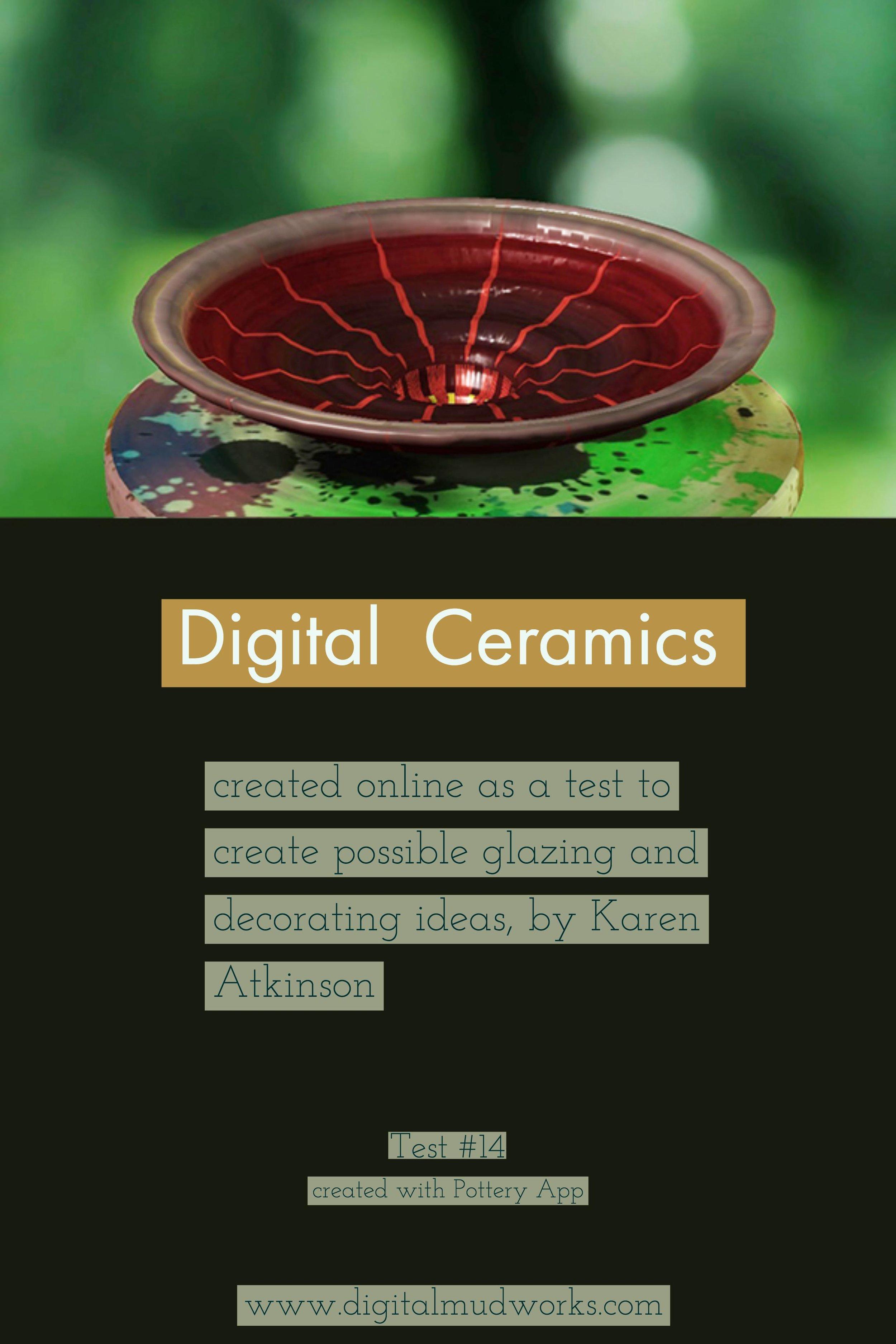 Digital Ceramics Test 014, using a computer app to do glaze and design tests. by Karen Atkinson
