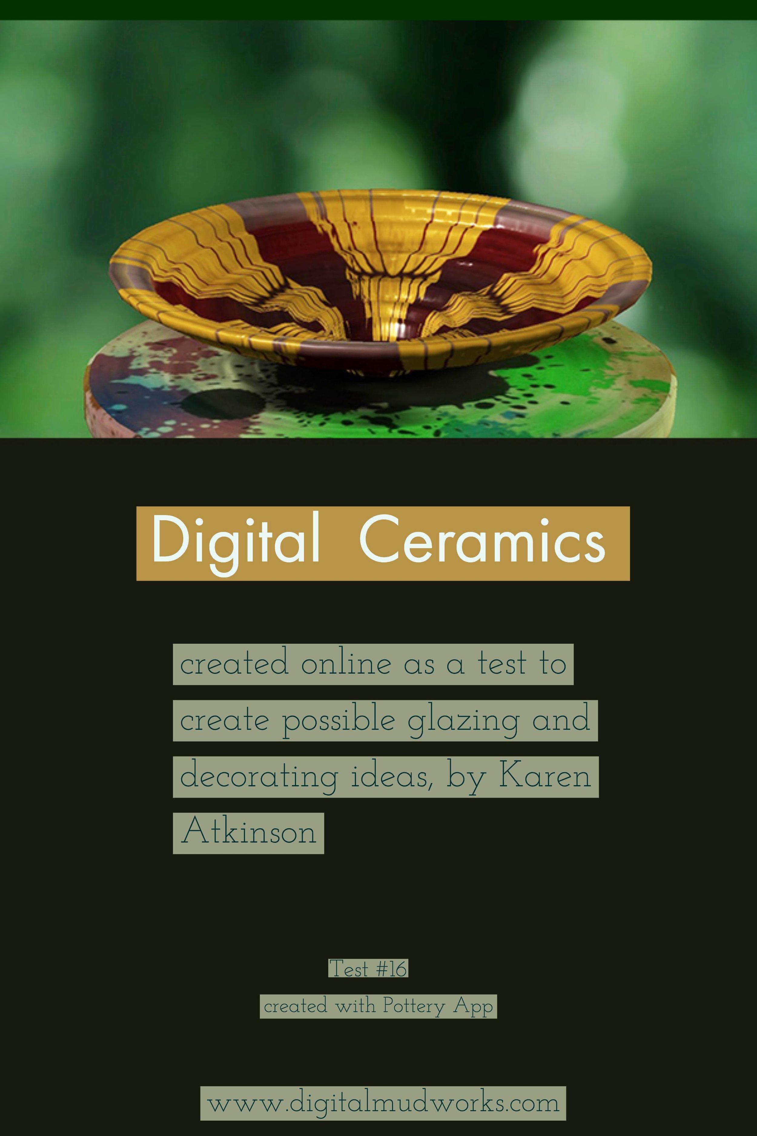Digital Ceramics Test 016, using a computer app to do glaze and design tests. by Karen Atkinson