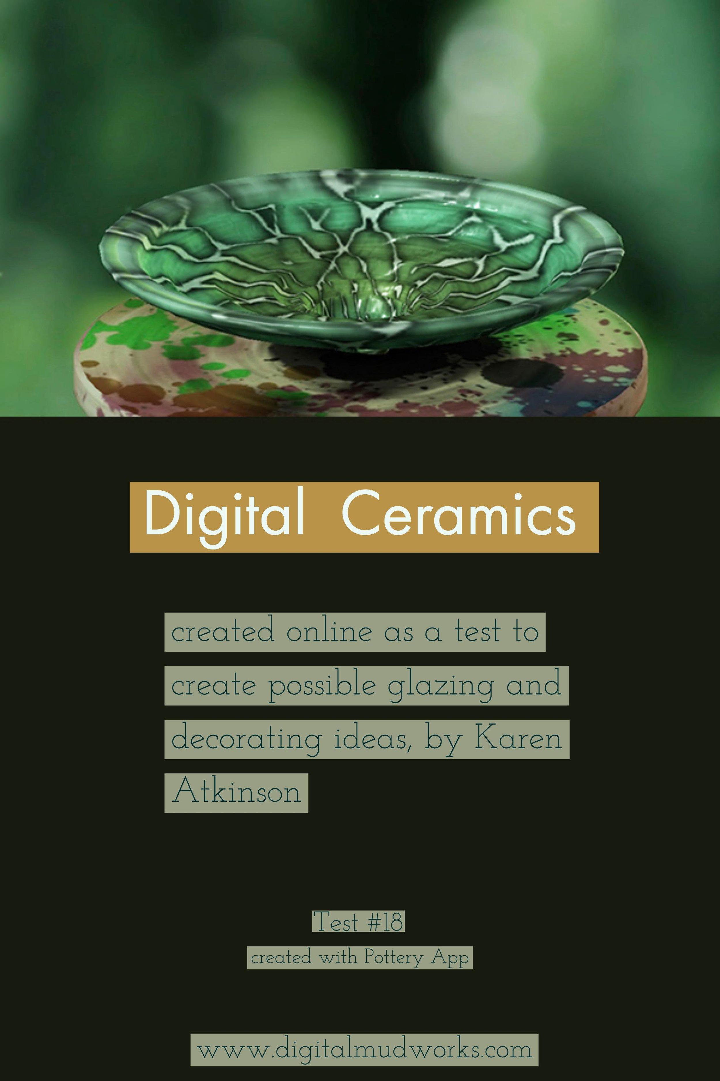 Digital Ceramics Test 018, using a computer app to do glaze and design tests. by Karen Atkinson