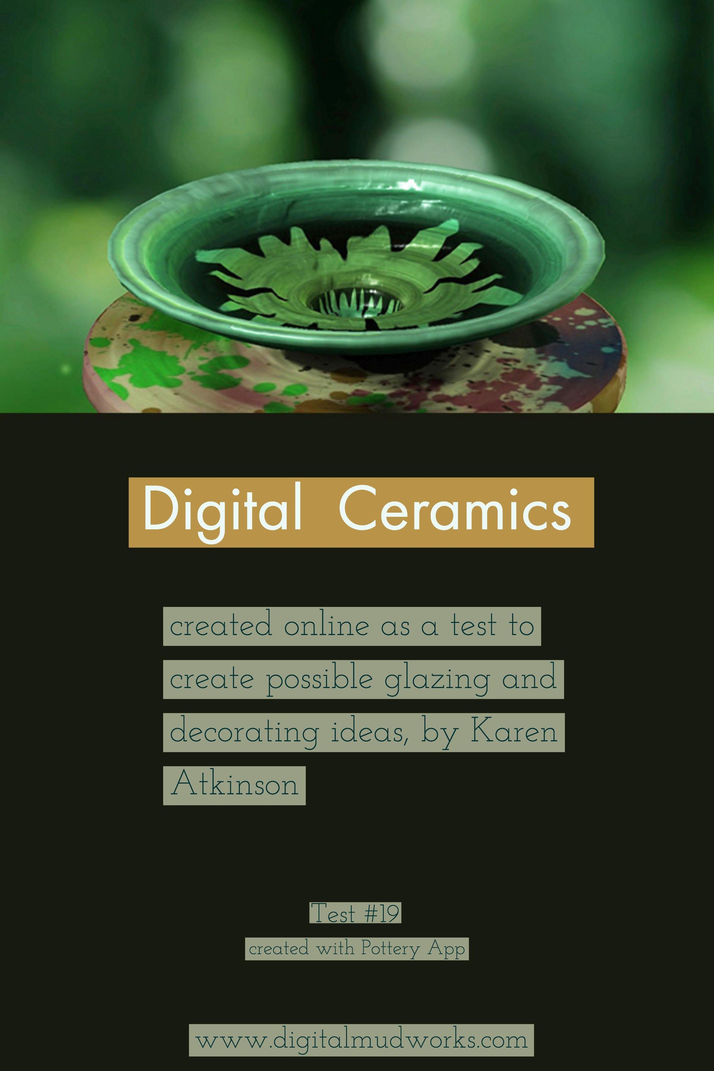 Digital Ceramics Test 019, using a computer app to do glaze and design tests. by Karen Atkinson