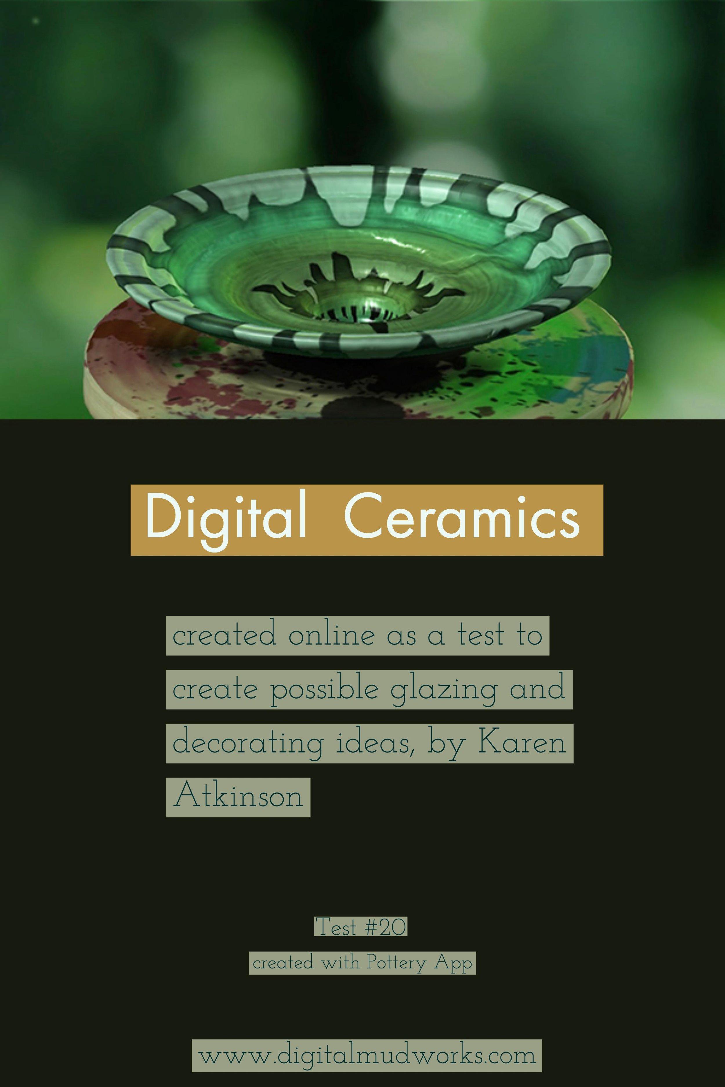 Digital Ceramics Test 020, using a computer app to do glaze and design tests. by Karen Atkinson