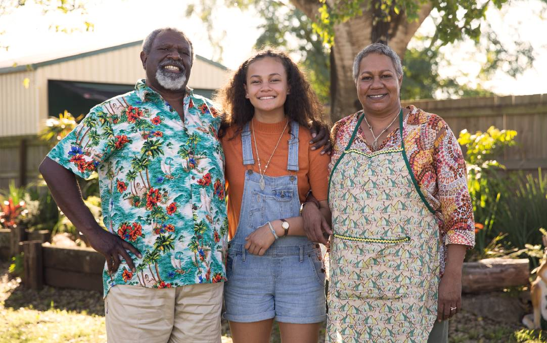 Charles Passi, Kyliric Masella and Tessa Rose at the show's main house location in Hawkins Street Beaudesert.