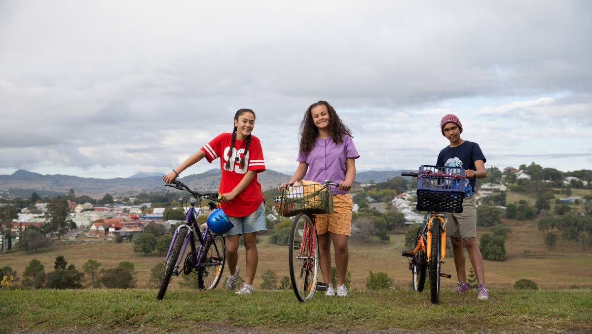 Mairehau Grace, Kyliric Masella and Tjiirdm McGuire at Boonah in a scene from Episode 1 of Grace Beside Me. photos supplied by Magpie Pictures, Production Stills by Julian Pancetta.