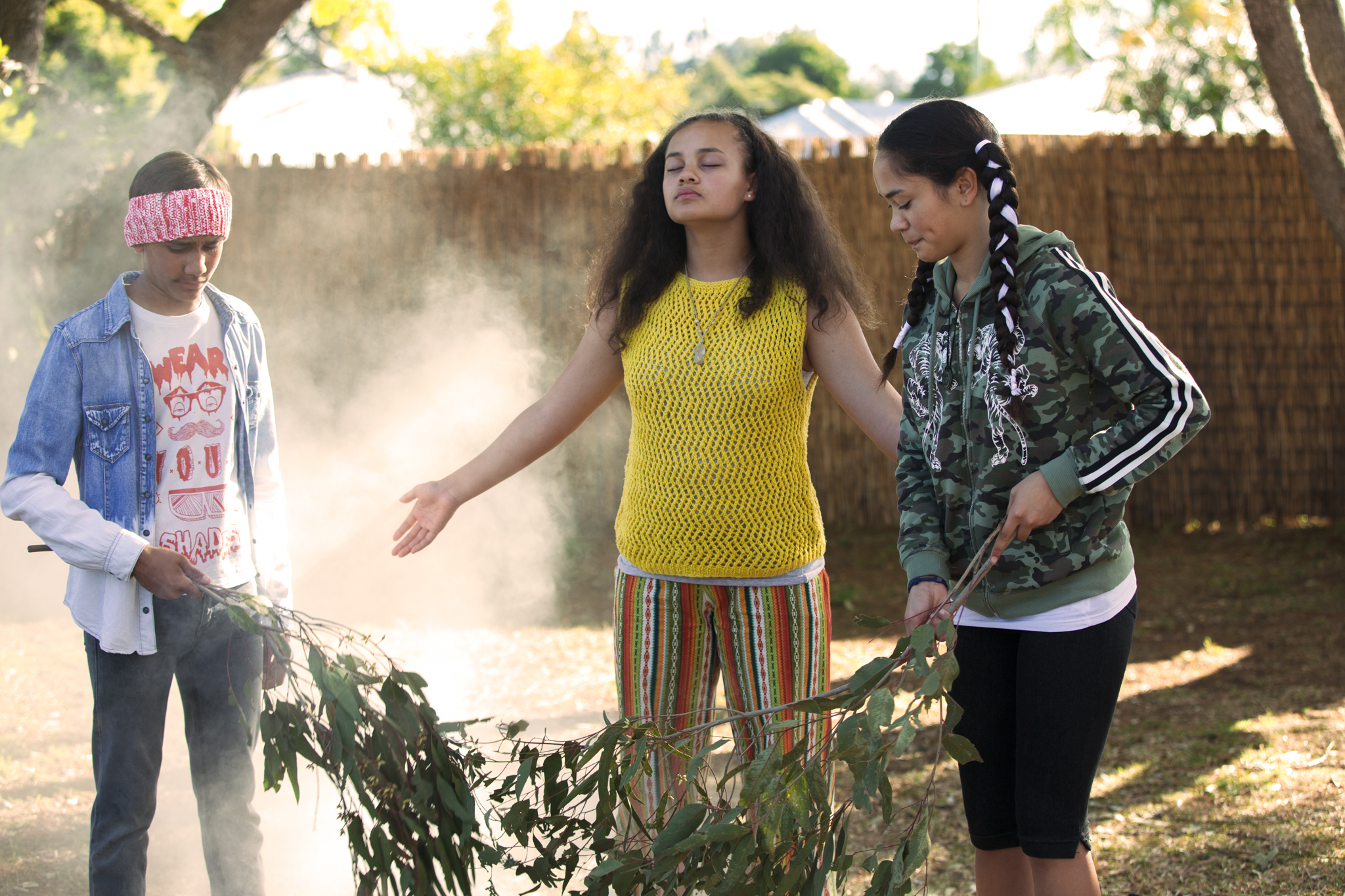L—R, Tjiirdm McGuire as 'Yar', Kyliric Masella as 'Fuzzy', & Mairehau Grace as 'Tui'. Photo supplied by Magpie Pictures. Production Stills by Julian Panetta.