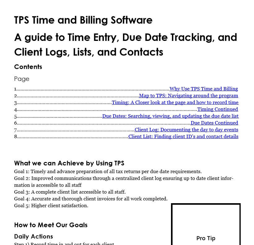 TPS Time and Billing Software