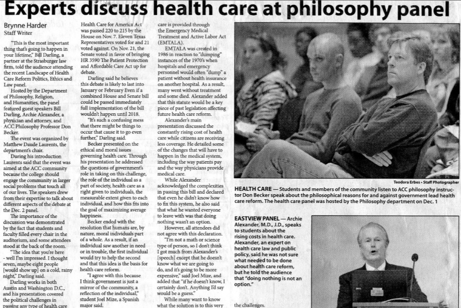 Experts discuss health care at philosophy panel