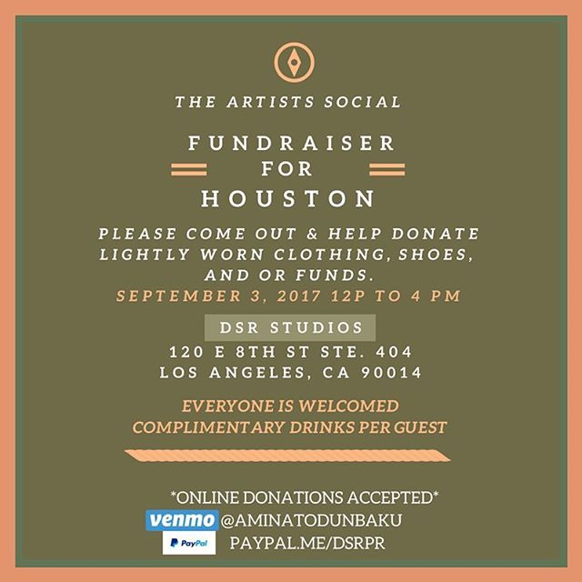 """🚨Los Angeles/ Compton🚨 We are headed to @dsrstudios this Sunday for the """"Artists Social Fundraiser for Houston"""" We have family and friends that have lost everything so we are doing what we can to give back! If you have anything to give clothing, shoes, or funds please stop by Sunday! From 12p-4p If you're unable to stop by and would like to contribute online you can venmo or PayPal the address listed  venmo: @aminatodunbaku  PayPal: paypal.me/dsrpr  and we WILL SHOW YOU PROOF of where you money has gone! God bless you all in advance continue to pray for Texas and Louisiana! #houston #texas #louisiana #portarthur #cali #compton #la #fundraiser #dropoffclothing #artists #giveback #discoveryoucpt #comptoncali"""