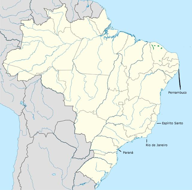 Map altered from Di Betti, et al . (2003) Uma visão da Biodiversidade da Ecorregião das florestas do Alto Paraná - Bioma Mata Atlântica. WWF.