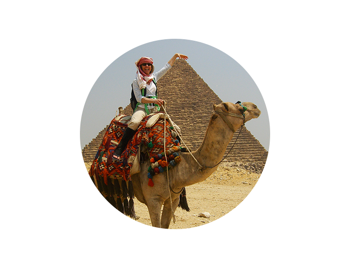 Your travel and spiritual guide, Carolyn Schmitz, during her 2007 trip to Cairo. She always wanted to ride a camel in Egypt...     read more about Carolyn ...