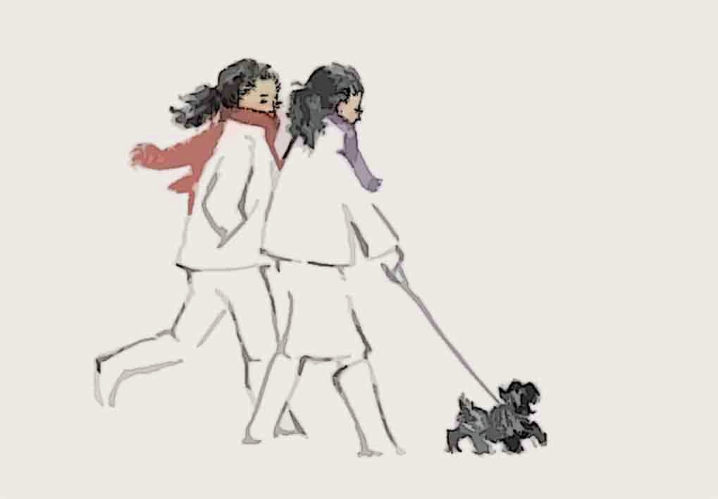 For 11 years, I've been designing a holiday card annually depicting a client's two daughters, and recently, their dog.