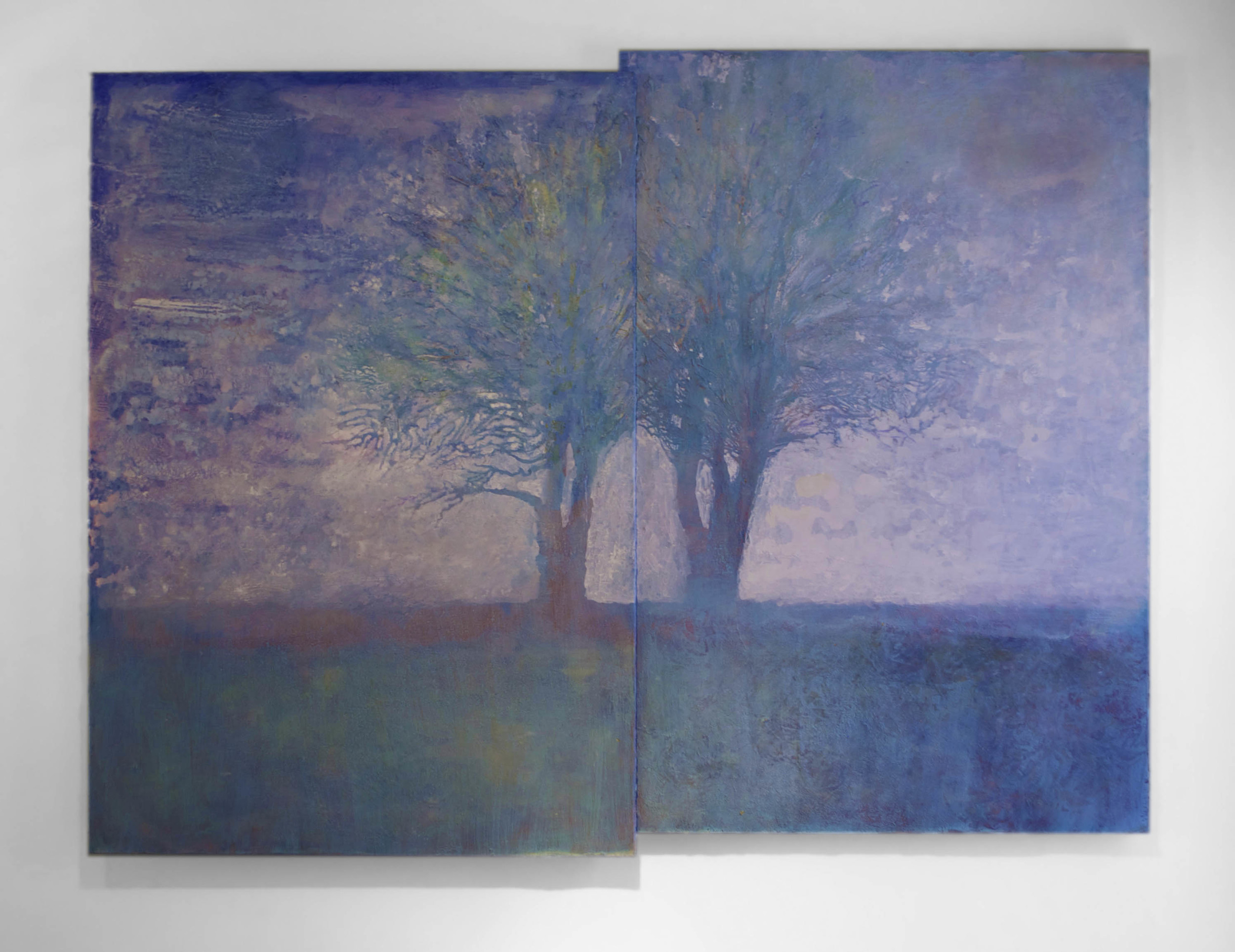 """The current version of Day One Day Two / 46"""" x 60"""" / acrylic and paper on luon panel / private collection"""