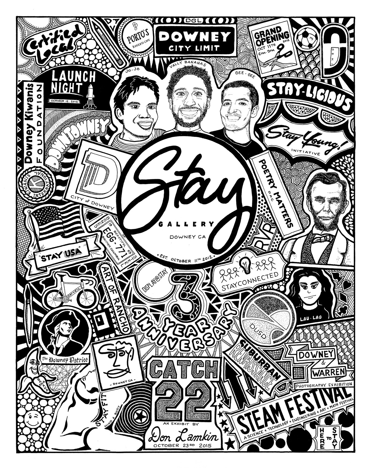 Illustration by Don Lamkin for Stay Gallery's third anniversary, commemorating the team behind Stay Gallery and all of its accomplishments.