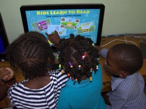 The children with their new computers!