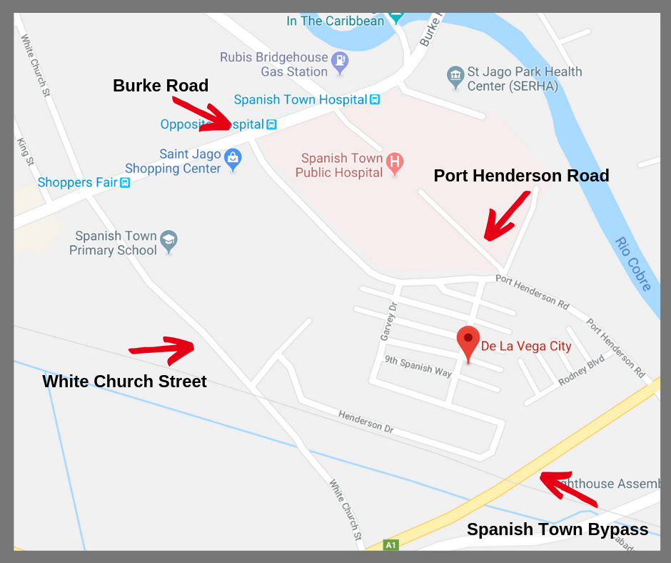 LOCATION - DISTRICT BORDERS:North: Burke Road (Spanish Town Proper)South: Spanish Town Bypass (Bernard Lodge)East: Port Henderson RoadWest: White Church Street