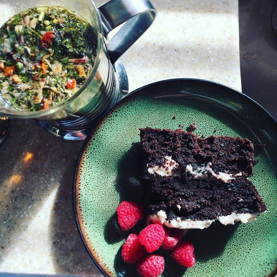 Gluten Free + Dairy Free Vegan Chocolate cake. Remedy Immune Booster Herbal Tea