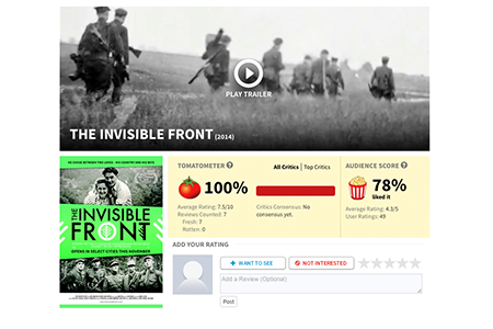 THE INVISIBLE FRONT AWARDED 100% FRESH ON ROTTEN TOMATOES